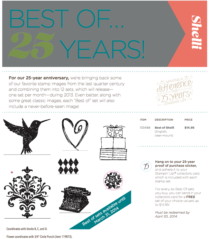 stampin u p best of 25 years - best of shelli