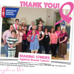 NEWS: Thank you! We raised over $5300 for Making Strides Against Breast Cancer