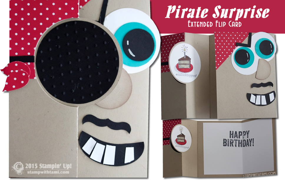 pirate suprise stampin up extended flip card