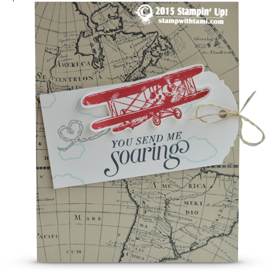 stampin up sky is the limit soaring plane card