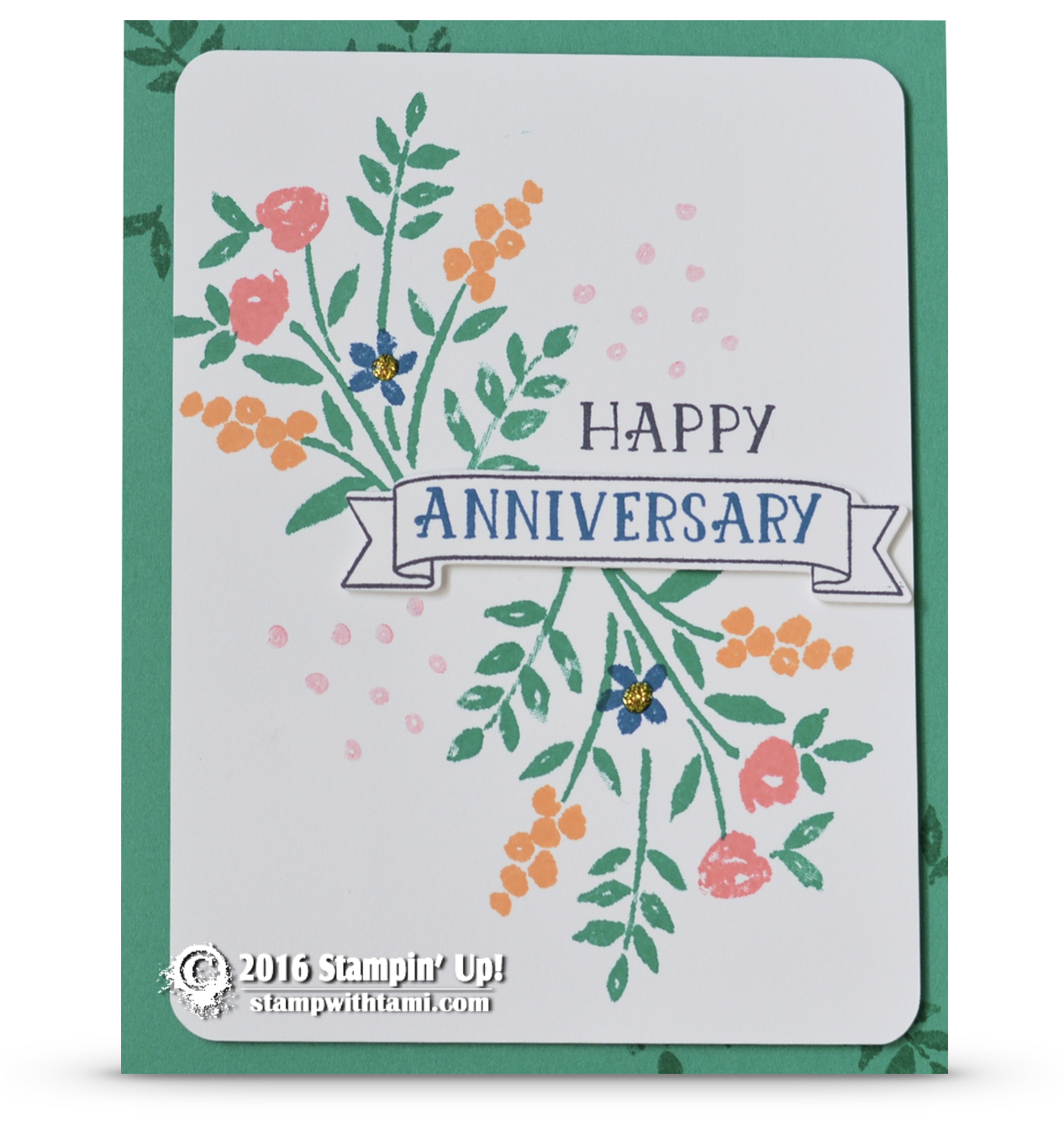 Card happy anniversary from the number of years stampin
