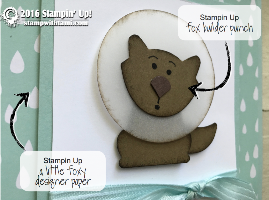 stampin up fox dog cone of shame card