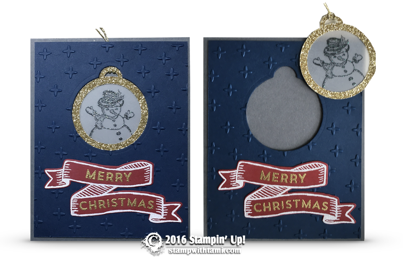 stmapin up snowman 2 in 1 ornament card