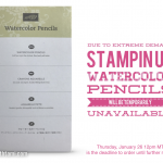 NEWS: Watercolor Pencils Temporarily Unavailable on Thursday