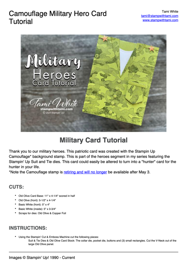 Military Hero Card pdf