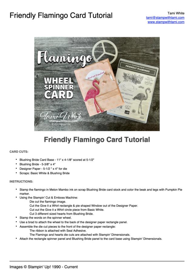 Friendly Flamingo Spinner Card Tutorial pdf
