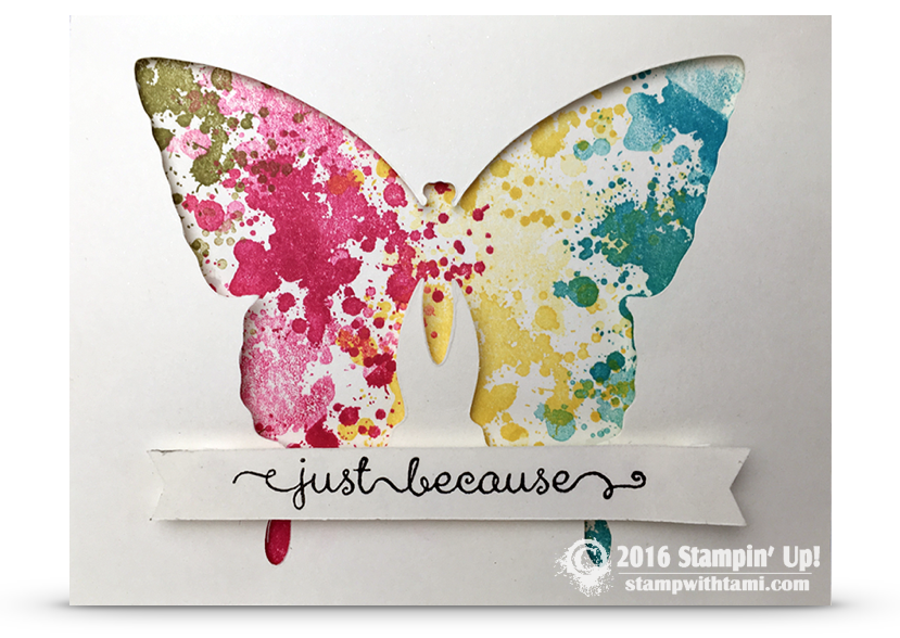 stampin up butterly die window cut out slatter card