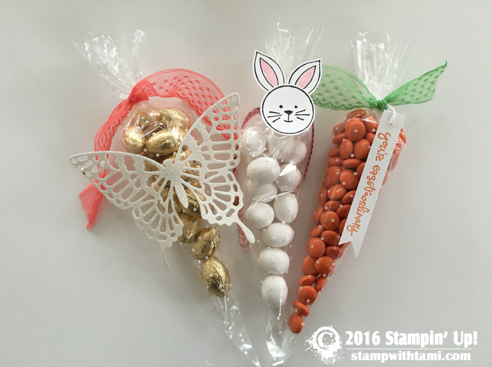 stampin up easter candy polka dot cone cell bags