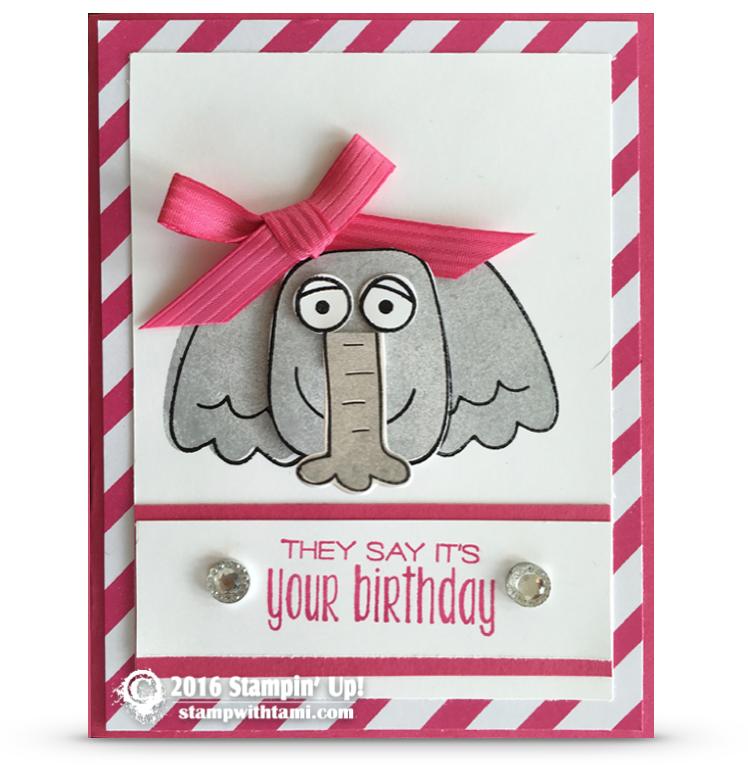 stampin up playful pals elephant card