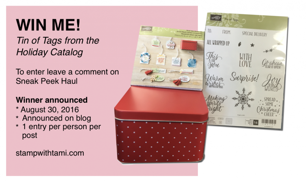 holiday catalog giveaway tin of tags stampin up