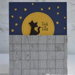 CARD: Cat on a Fence from the Cauldron Bubble Stamp Set