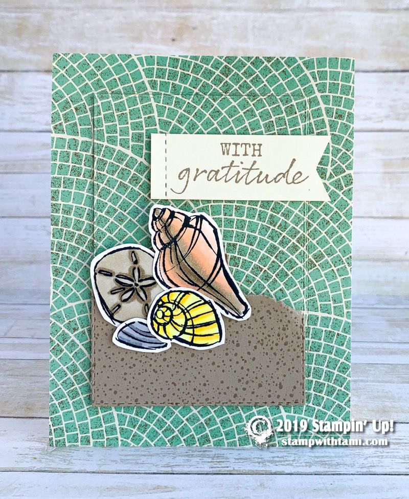 Beach Theme Card Stock: CARD: Gratitude Seashells From The Seaside Notions Stamp