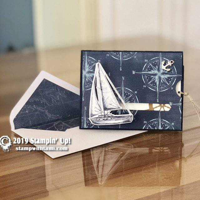 Stampin Up Come Sail Away Suite and July On My Mind 2019 Paper Pumpkin Kit Pull tab slider card