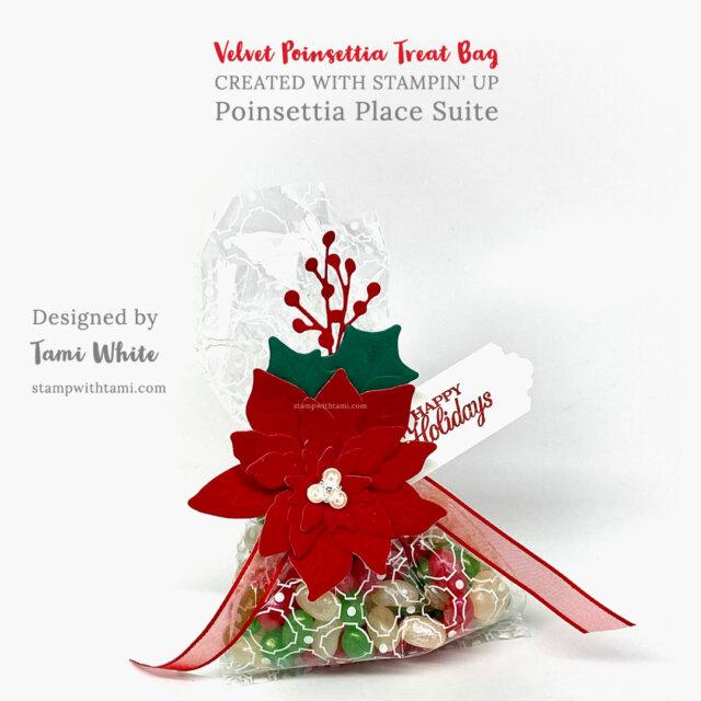Velvet Poinsettia Treat Bag