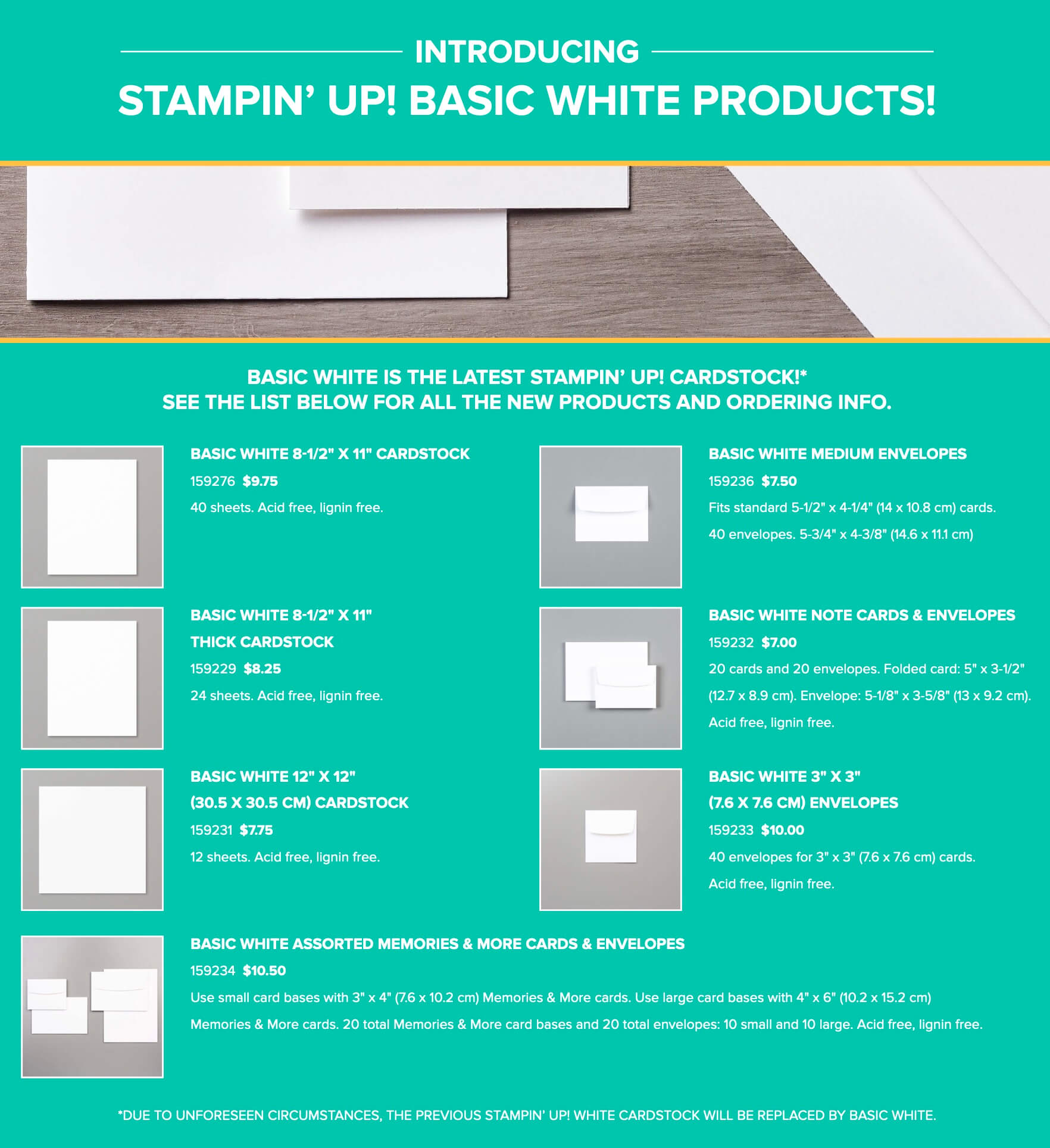 Free Shipping! Assorted 12 x 12 Designer Series Paper Stampin/' Up!