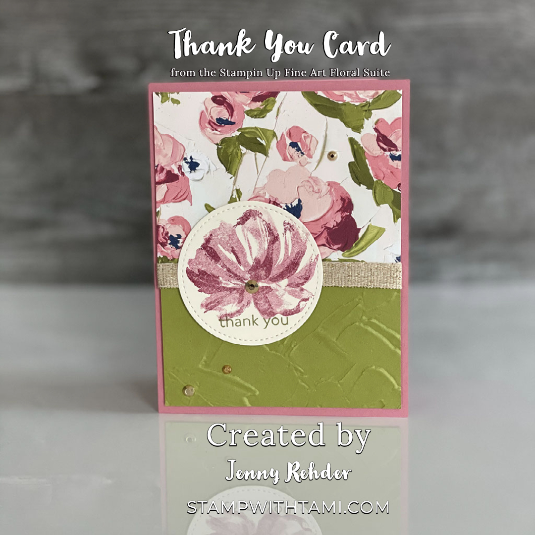 fine art floral thank you card