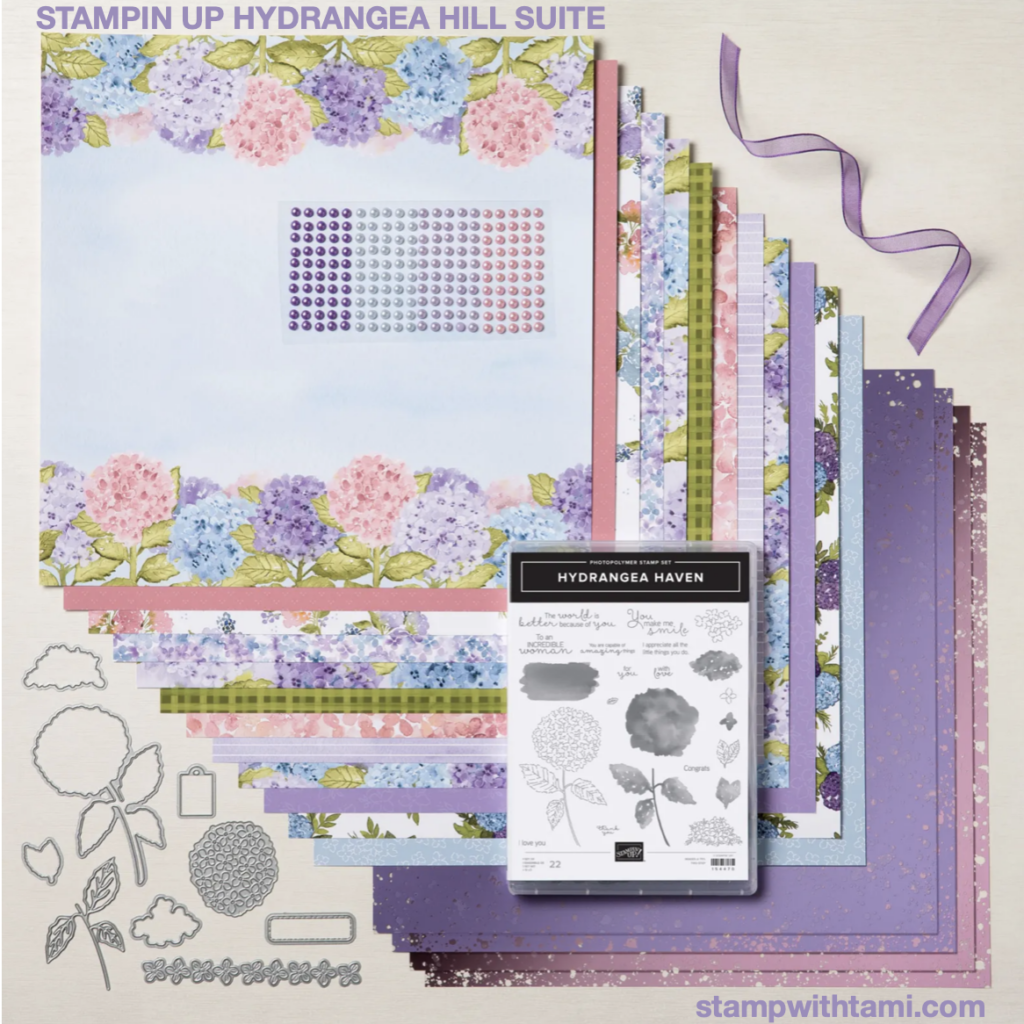 How to make a triple fold hydrangea card with Stampin Up Hydrangea Hill Suite