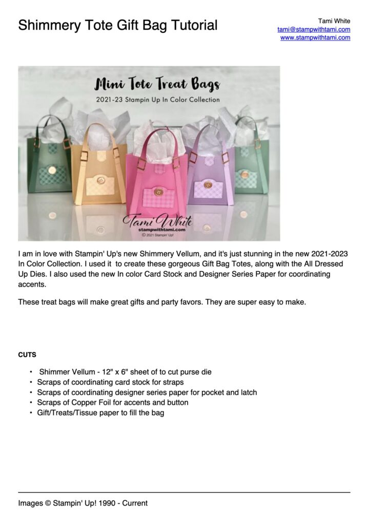 Shimmery Tote Gift Bag Tutorial pdf