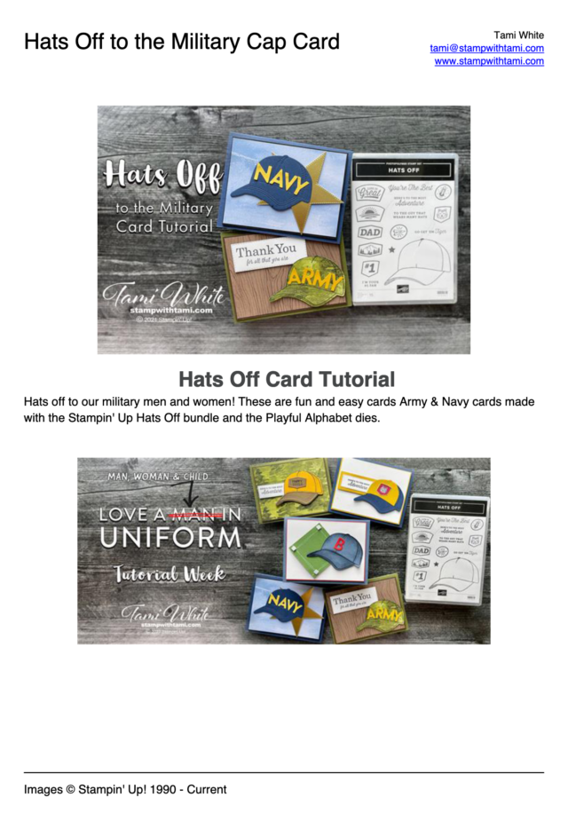 Hats Off Military Card Tutorial pdf