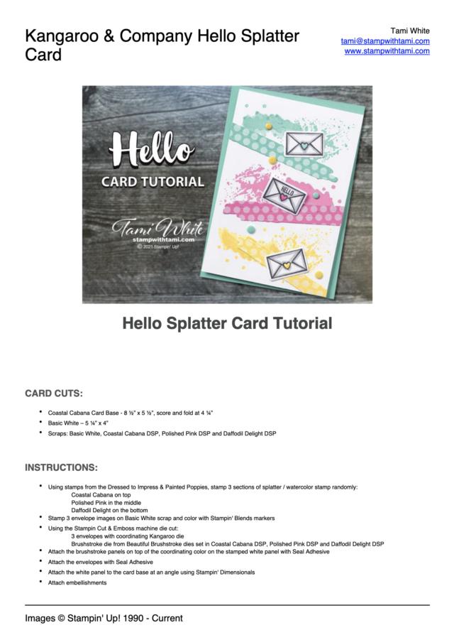 Hello Splatter Card Tutorial PDF