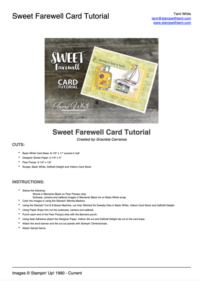 Sweet Farewell Card Tutorial pdf
